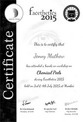 Dr Jenny Mathew Certificate Chemical Peel Facethetics 2015