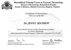 Dr Jenny Mathew Certificate Cosmetic Dermatology Ramathibodi Thailand