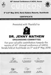 Dr Jenny Mathew Certificate Cuticon Kerala IADVL 2018