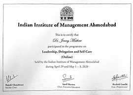 Dr Jenny Mathew Certificate IIM-Ahmedabad
