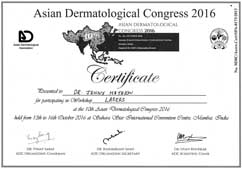 Dr Jenny Mathew Certificate Laser Worshop Asian Dermatological Congress 2016