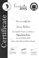 Dr Jenny Mathew Certificate Pigmentary Laser Facethetics 2015