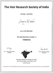 Dr Jenny Mathew Certificate Hair research Society Life Member INHRS