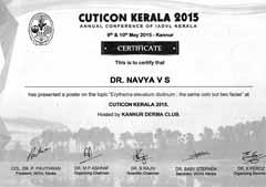 Dr Navya V S, Certificate, Cuticon Kerala IADVL