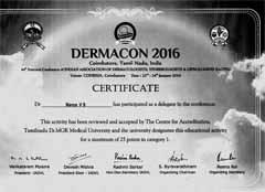 Dr Navya V S, Certificate, Dermacon IADVL