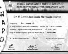 Dr Navya V S, Certificate, IASSTD 2015