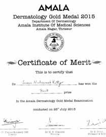 Dr Simin Muhammed kutty Certificate Amala-Dermatology-Gold-Medal-Examination-2015
