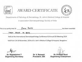 Dr Simin Muhammed kutty Certificate Dermapathology Society India