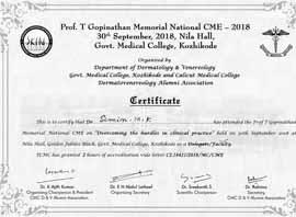 Dr Simin Muhammed kutty CertificateDermatology-Venereology-CME-2018