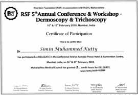 Dr Simin Muhammed kutty Certificate IADVL-Dermoscopy-Trichoscopy-2019