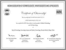 Dr Simin Muhammed kutty Certificate IADVL-PEDIATRIC-DERMATOLOGY-OBSERVERSHIP-2019