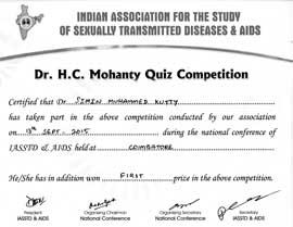 Dr Simin Muhammed kutty Certificate IASSTD-AIDS-2015